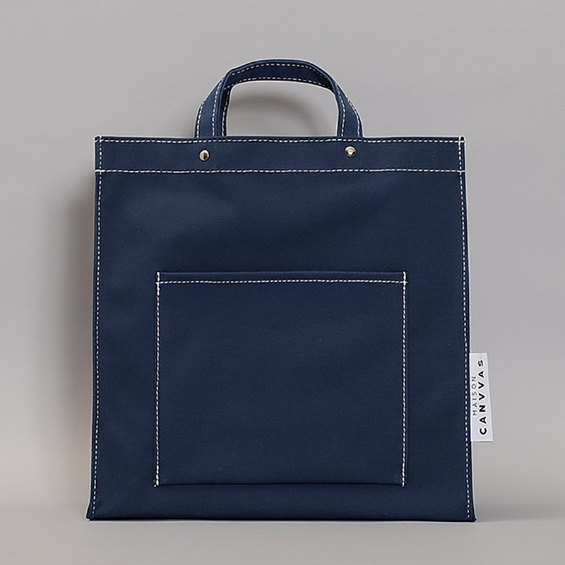 Deadstock Fabric Made in Germany Pocket Tote Ssize Navy