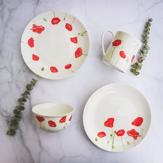 Christmas Gift / Addiction Poppy 6 Piece Set (2 plates, 2 cups, 2 bowls)