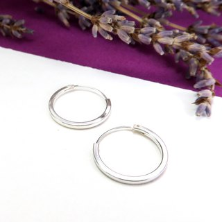 Circle/C Type Earrings Square Wire Round (18mm) 925 Sterling Silver Earrings - 64DESIGN