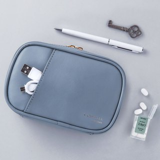 Livework Collection Dry Flower Leather Universal Cosmetic Bag Ver.4-Cyan Blue, LWK54739