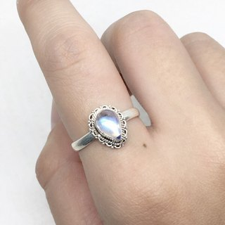 Moonlight stone 925 sterling silver lace ring Nepal handmade mosaic production (style 6)