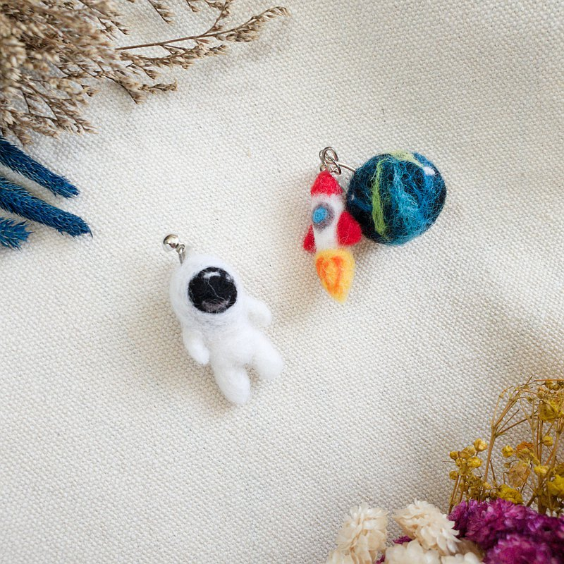 Spaceman's small universe wool felt earrings