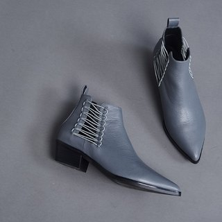 Extremely thin rope hollow short tube thick heel boots gray blue