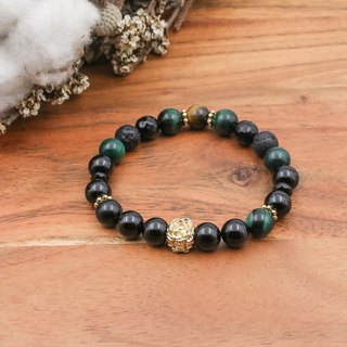 The Wizard of Oz Green Tiger Eyestone Yellow Tiger Eye Volcanic Rock Agate 24k Golden Copper Natural Stone Bracelet