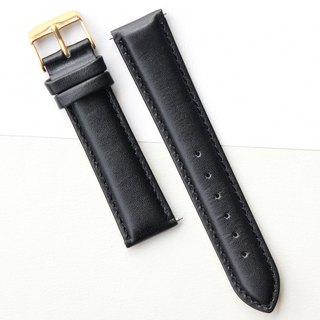 【PICONO】20-18mm black leather strap-Gold