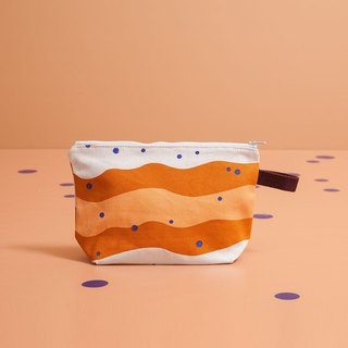 Zipper Trapzoid Pouch/Bubble Tea/Caramel