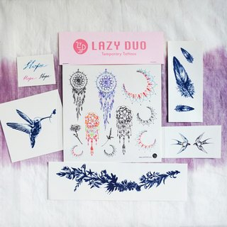 Goody Bag - LAZY DUO 手繪刺青紋身貼紙|福袋B・捕夢網/羽毛/花和鳥