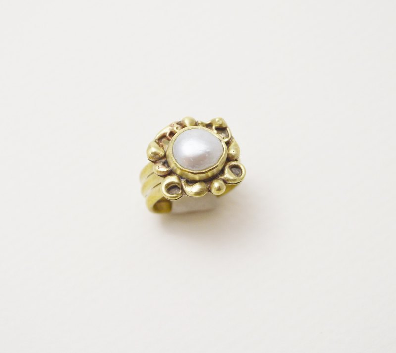 Brass.Pearl.Vintage Series - Open Wide Ring #2