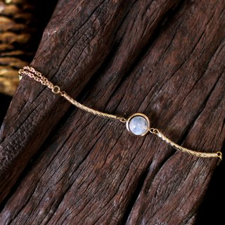 Emma light track __ natural ore bracelet top white moonstone 24K gold pure copper fittings