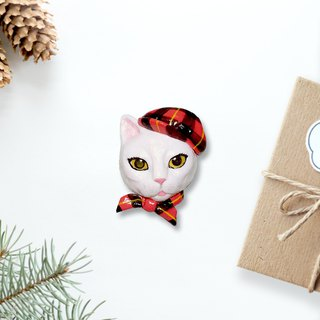 Charming white cat wearing tartan cloth brooch, white cat brooch, white cat pin