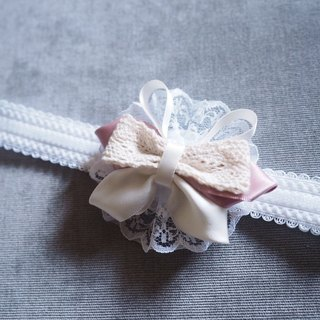 Handmade ribbon bow headband and hair clip set