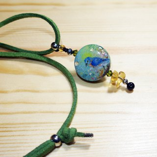Hand painted spring bird wooden charm green faux suede necklace with citrine