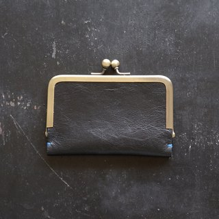 Leather business card (card) case / Black/ pig suede / gift also