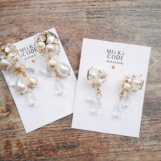 [Offer set of two] handmade beaded Swarovski crystal drop cotton beads super flash earrings / ear clip