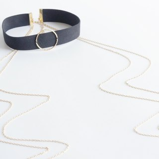 【Smooth Artificial Black Leather Choker-B-】