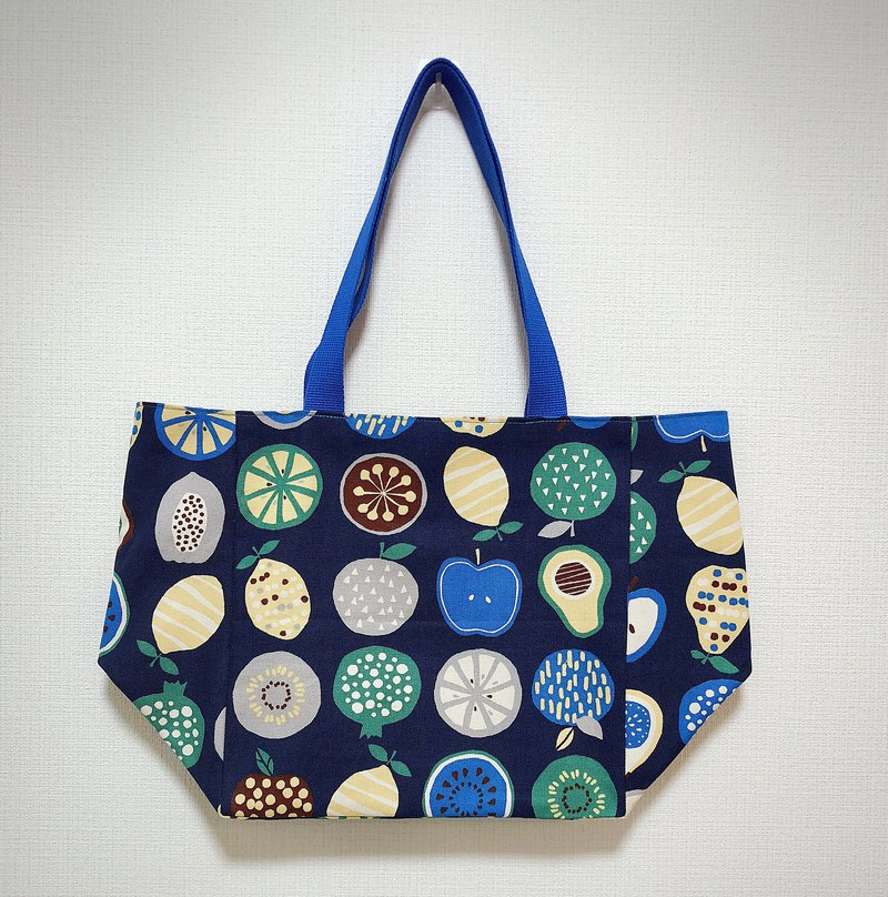 Japanese printed cotton tote bag - wide bottom - blue fruit