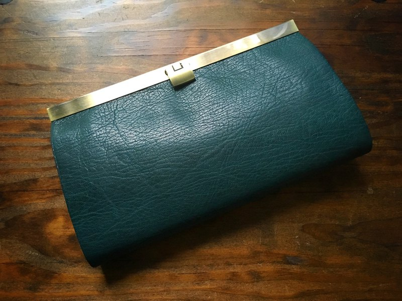 French goat leather card 16 storage wallet rectangle bottle green