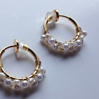 Fresh water Kespearl AA + vintage pearl double hoop earrings 耳夾