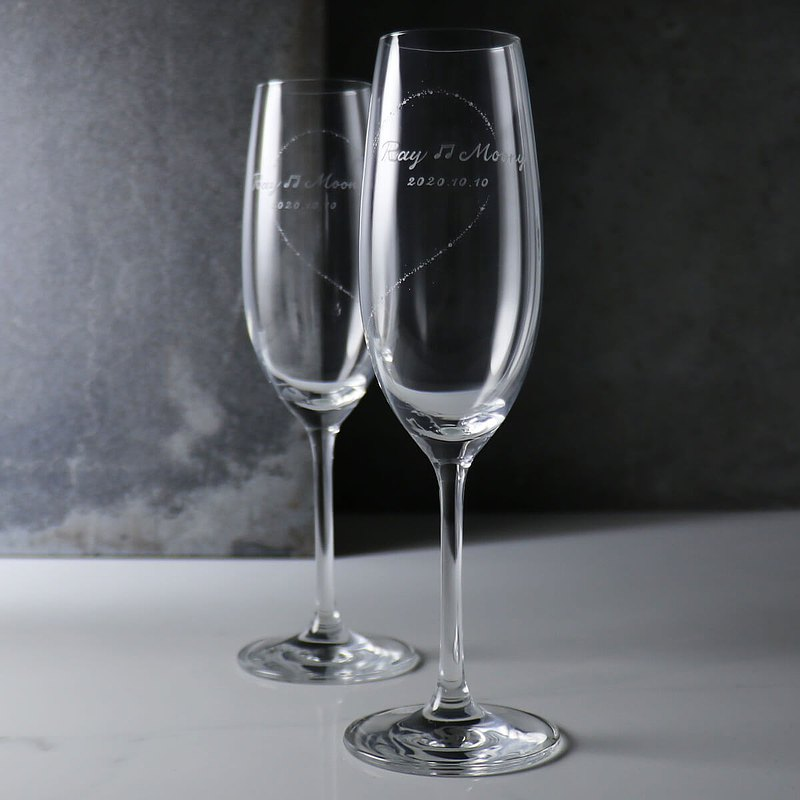 (Pair price) 210cc [Complete with you] Champagne pair glasses love notes wedding gift