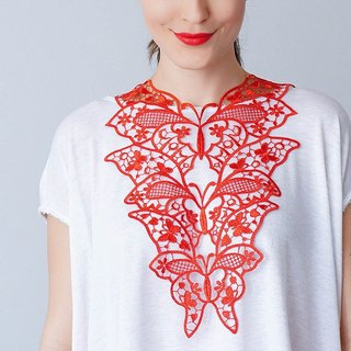 RED Clothing Gift Necklace Venise Lace Necklace Lace Jewelry Bib Necklace Statement Necklace Body Jewelry Gift/ FIORDI