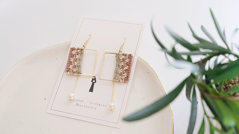 Japanese Gold-plated | Cotton Crochet Square Drop Earrings