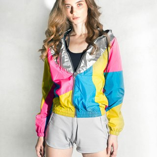 Silver Hood Yellow Pink windbreaker Jacket
