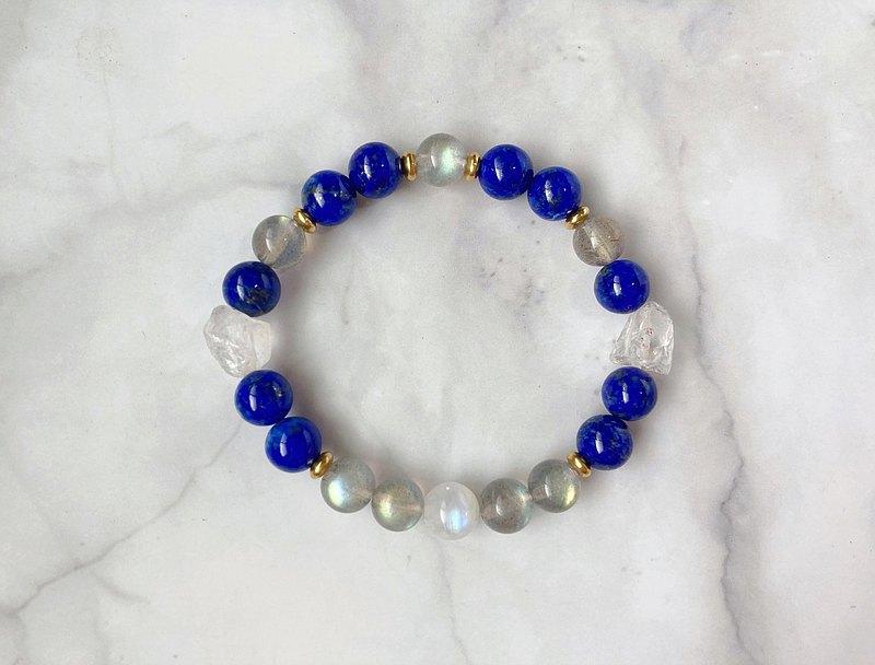 【藍色星球】青金石 拉長石 月光石 白水晶 手鍊
