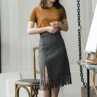 Boucle tweet skirt - black color