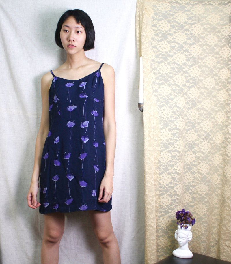 FOAK vintage blue purple poppy field dress