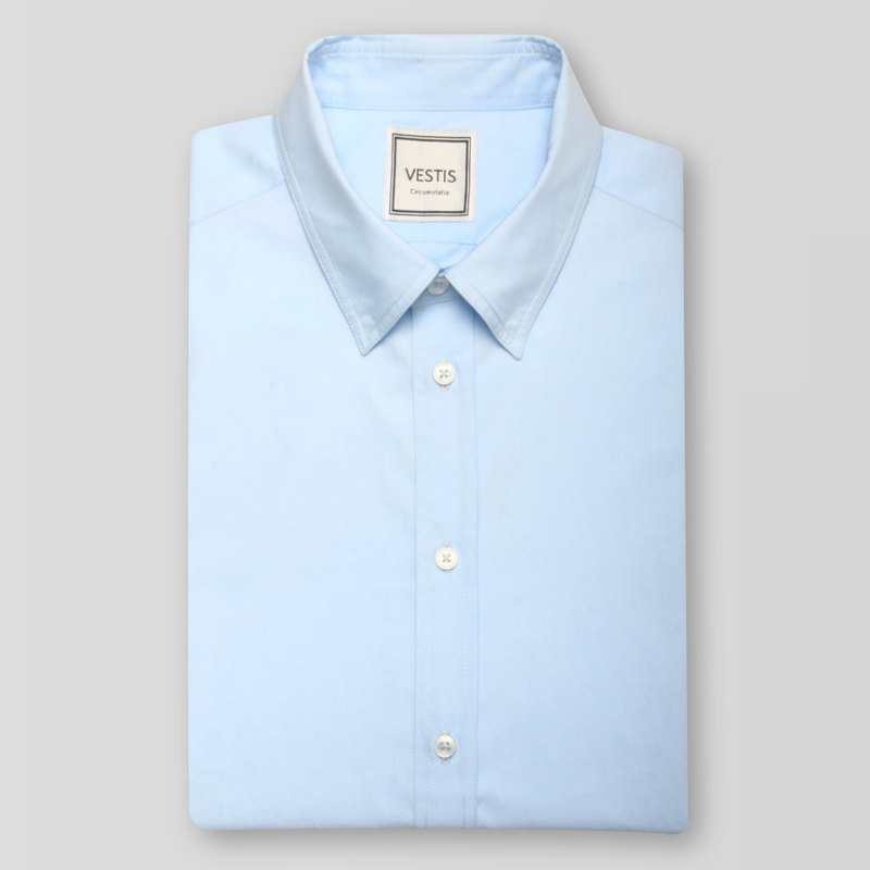 Professional Blue Men's Business Casual Shirt-Fitted / Europe Imported 100% Cotton Fabric