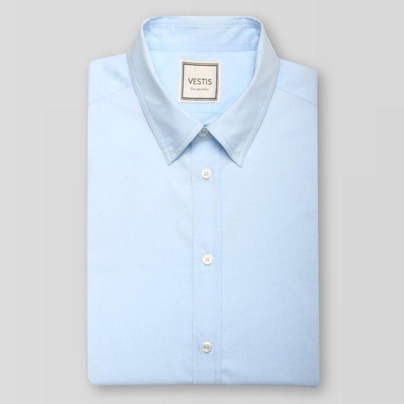 專業藍男性商務休閒襯衫 - 合身版/歐洲進口100%純棉面料