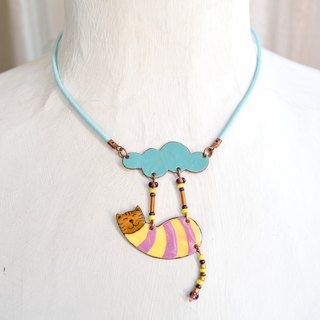 Jewelry, Necklace, Pendant, Enamel, Cat, Cloud, Enamel Pendant, Cat Pendant, Funny Cat, Boho Cat, Happy Cat, Cat Necklace, Enamel Necklace, Boho Necklace, Cloud And Cat, Enameled Pendant, Striped Jewelry, Enamel Jewelry,