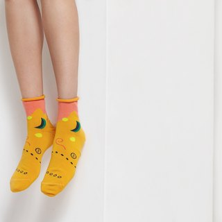 [NEW] PEEK-A-BOO : Moon & Sun Gold | Socks | Mens Socks | Womens Socks | Colorful Socks | Fun Socks | Unique Socks | Patterned Socks | Inside-out Socks
