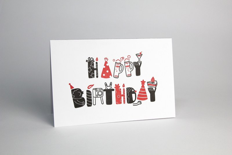 [Relief Printing] Card-Happy Birthday (180 lb art paper / envelope) / birthday card