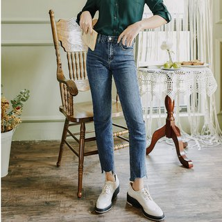 2018 autumn women's new solid color short short long jeans