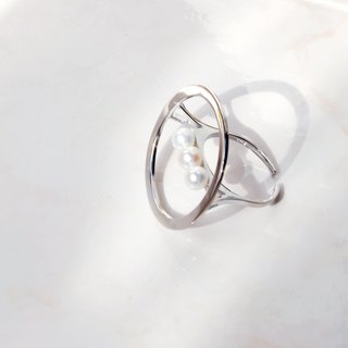 MissQueeny spacecraft / Natural Pearl 925 Silver Ring opening