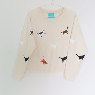 cat long sleeve crop top-calico