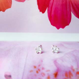 925 sterling silver, elegant, elegant and elegant [flower series peach flower ear pin]