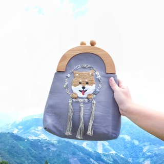Handmade Embroidery Doggie & Dreamcatcher Bag | Shiba, Grey