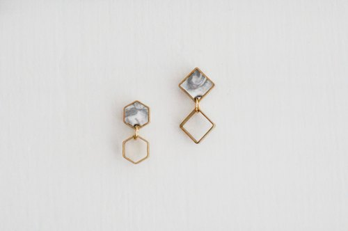 17Summer-Hexagon and Square Marble Earring- Grey