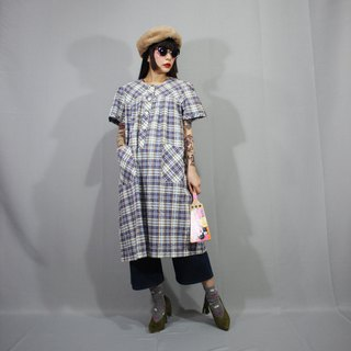 Vintage White Purple Check Double Pocket Japan Vintage Dress (Wedding / Picnic / Birthday Gift) F3216