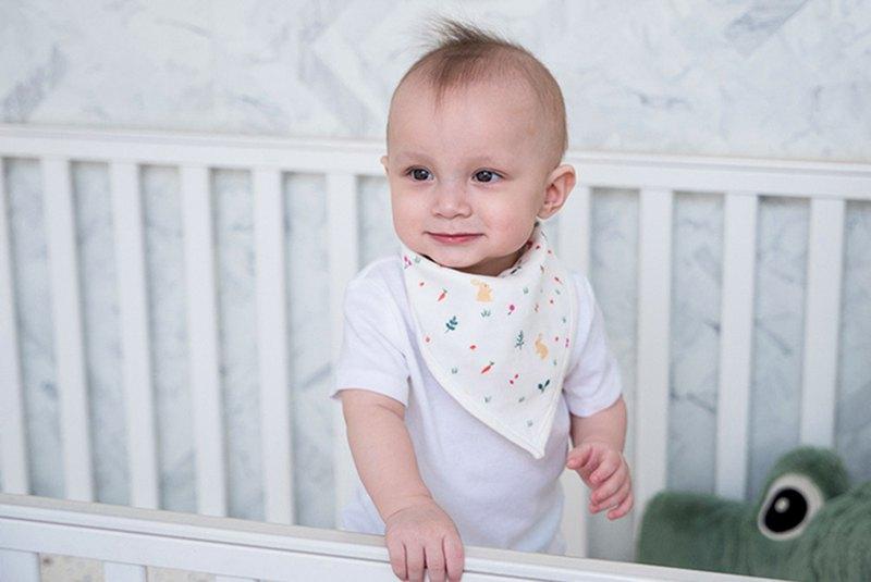 Organic B 有機比比 彌月禮嬰兒有機棉紗圍兜/口水巾-午後小野兔