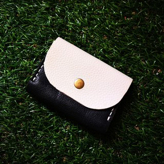 Double-layer card leather coin purse - black + light gray contrast color leather