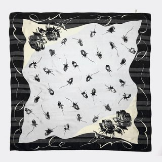 Black and white vintage rose antique silk scarf BL0008