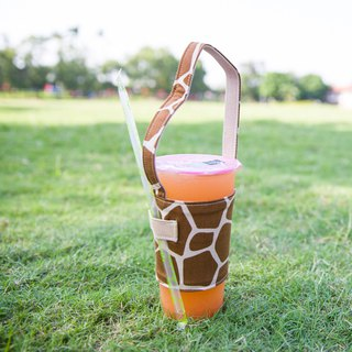 Pu.sozo hand made (giraffe) green cup set drink cup set drink bag