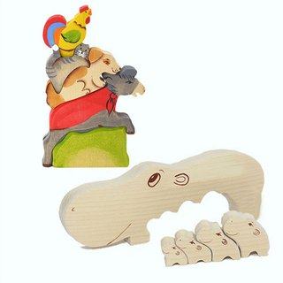 Goody Bag - Russian Building Blocks - Beech Fairy - Bremen Band Jenga + Hippo Family