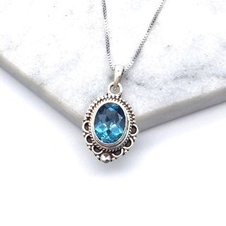 Blue Topaz Exotic Lace Necklace in Sterling Silver Made in Nepal (Model 1)