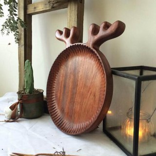 Hand-carved rosewood antler petal pattern tray