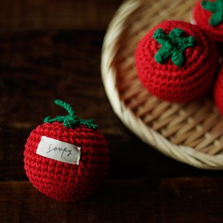 Hand-knitted cotton tomato