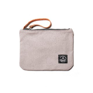 Leather canvas universal small bag cosmetic bag light gray DG43